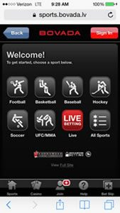Bovada Live Betting Home Screen